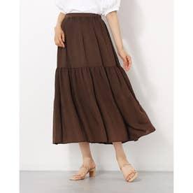 シャイニーボイルプリーツ切替スカート (ブラウン)