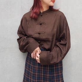 チャイナボタンオーバーシャツ (13ブラウン)