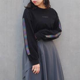 袖ラインプリントロングスリーブTシャツ (49ブラック)