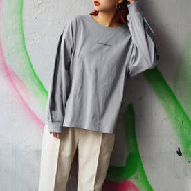袖ラインプリントロングスリーブTシャツ (60ブルー)