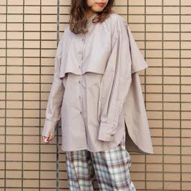 ケープ風オーバーサイズシャツ (19ライトグレー)