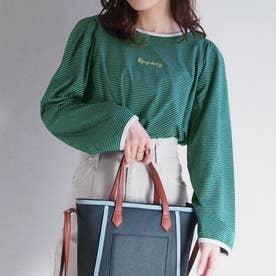 ボーダーロングスリーブTシャツ (40グリーン)