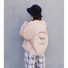 バック刺繍リブブルゾン (08ピンク)