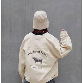 バック刺繍リブブルゾン (28オフホワイト)