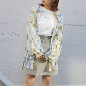 ペイント柄ビッグシャツ (60ブルー)