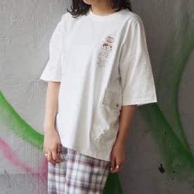 異素材ポケットビッグTシャツ (28オフホワイト)