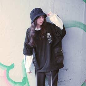 異素材ポケットビッグTシャツ (49ブラック)