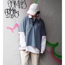 配色BIGポロシャツ (60ブルー)