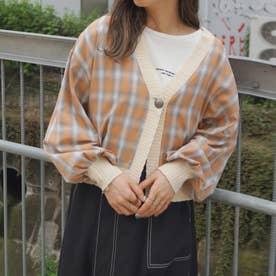 チェックシャツリメイクカーディガン (10オレンジ)