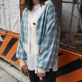 チェックシャツリメイクカーディガン (60ブルー)