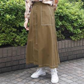 ワーク風フレアロングスカート (13ブラウン)
