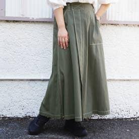 ワーク風フレアロングスカート (40グリーン)