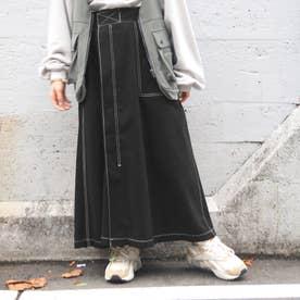 ワーク風フレアロングスカート (49ブラック)