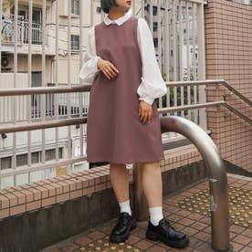 衿配色ツイルワンピース (80パープル)