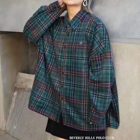 BEVERLY HILLS POLO CLUBコラボチェックシャツ (47モスグリーン)