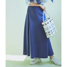 【中村アンさん着用】テンセルサテンギャバ フレア スカート(番号2D26) (ブルー系)