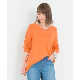 【中村アンさん着用】シルクリネンリリヤーンVネックプルオーバー(番号2F43) (オレンジ系)