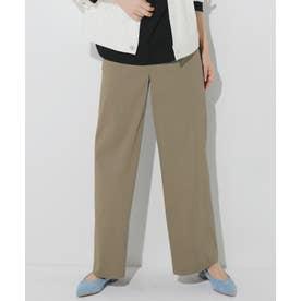 【中村アンさん着用】リネンビスコースストレッチストレートパンツ(番号2H36) (カーキ系)