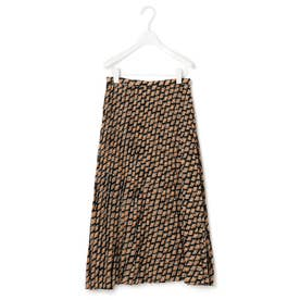 【中村アンさん着用】ヴィンテージプリントプリーツ スカート(番号2H35) (ブラック系)