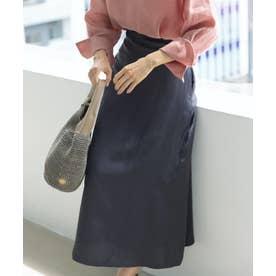 【中村アンさん着用】リネンビスコースツイル フレアスカート(番号2K35) (チャコールグレー系)