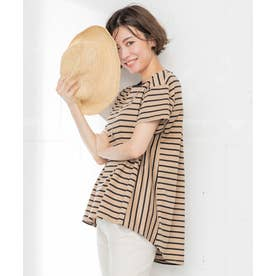 【洗える】コットン ビックシルエット ボーダー Tシャツ (キャメル系1)