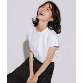 【洗える】コットンジャージー フレンチスリーブ Tシャツ (ホワイト系)