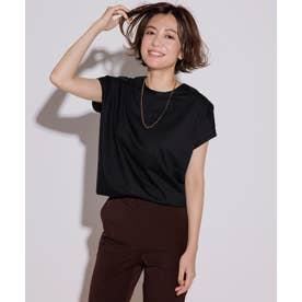 【洗える】コットンジャージー フレンチスリーブ Tシャツ (ブラック系)