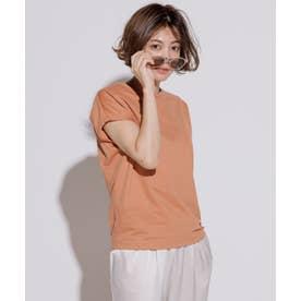 【洗える】コットンジャージー フレンチスリーブ Tシャツ (オレンジ系)