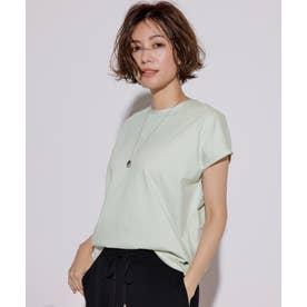 【洗える】コットンジャージー フレンチスリーブ Tシャツ (ミント系)