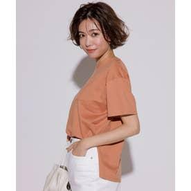【洗える】コットンジャージー ポケット Tシャツ (オレンジ系)