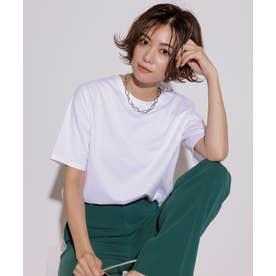 【洗える】コットンジャージー 5分袖 Tシャツ (ホワイト系)