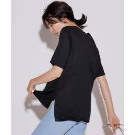 【洗える】コットンジャージー 5分袖 Tシャツ (ブラック系)