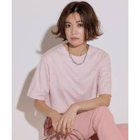 【洗える】コットンジャージー 5分袖 Tシャツ (ピーチ系)