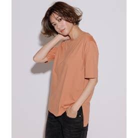 【洗える】コットンジャージー 5分袖 Tシャツ (オレンジ系)