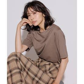 【洗える】コットンジャージー 5分袖 Tシャツ (モカ系)