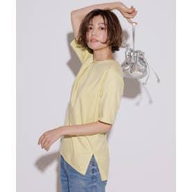 【洗える】コットンジャージー 5分袖 Tシャツ (レモン系)