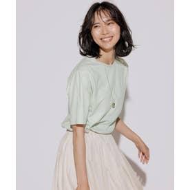 【洗える】コットンジャージー 5分袖 Tシャツ (ミント系)