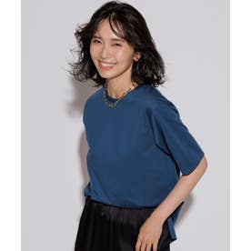 【洗える】コットンジャージー 5分袖 Tシャツ (オーシャン系)