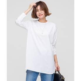 【洗える】コットンベアジャージー レイヤード Tシャツ (ホワイト系)