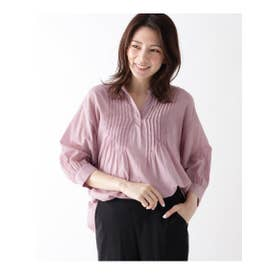 【コットン100%/手洗いOK】ボイルピンタックブラウス (ピンク)