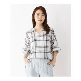 【洗濯機OK】リネン混ビッグスキッパーシャツ (ホワイト)