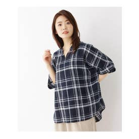 【洗濯機OK】リネン混ビッグスキッパーシャツ (ネイビー)