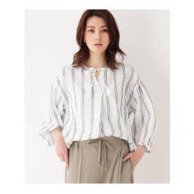 【洗濯機OK】ドビーストライプシャツ (ホワイト)
