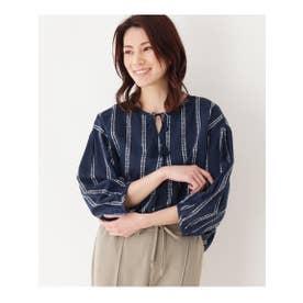 【洗濯機OK】ドビーストライプシャツ (ネイビー)