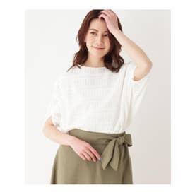 【手洗いOK】透かし編み風プルオーバー (ホワイト)