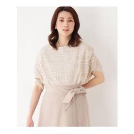 【手洗いOK】透かし編み風プルオーバー (ライトベージュ)