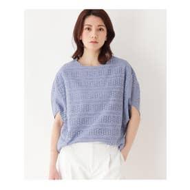 【手洗いOK】透かし編み風プルオーバー (ライトブルー)