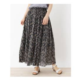 【手洗いOK】ペイズリー柄プリーツマキシスカート (ブラック)
