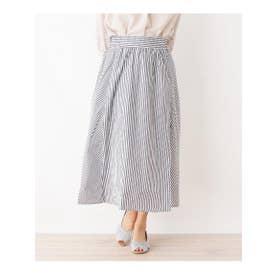 【手洗いOK】パネルストライプスカート (ネイビー(393))
