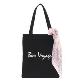 【バッグ】スカーフ付きロゴトートバッグ (ブラック)